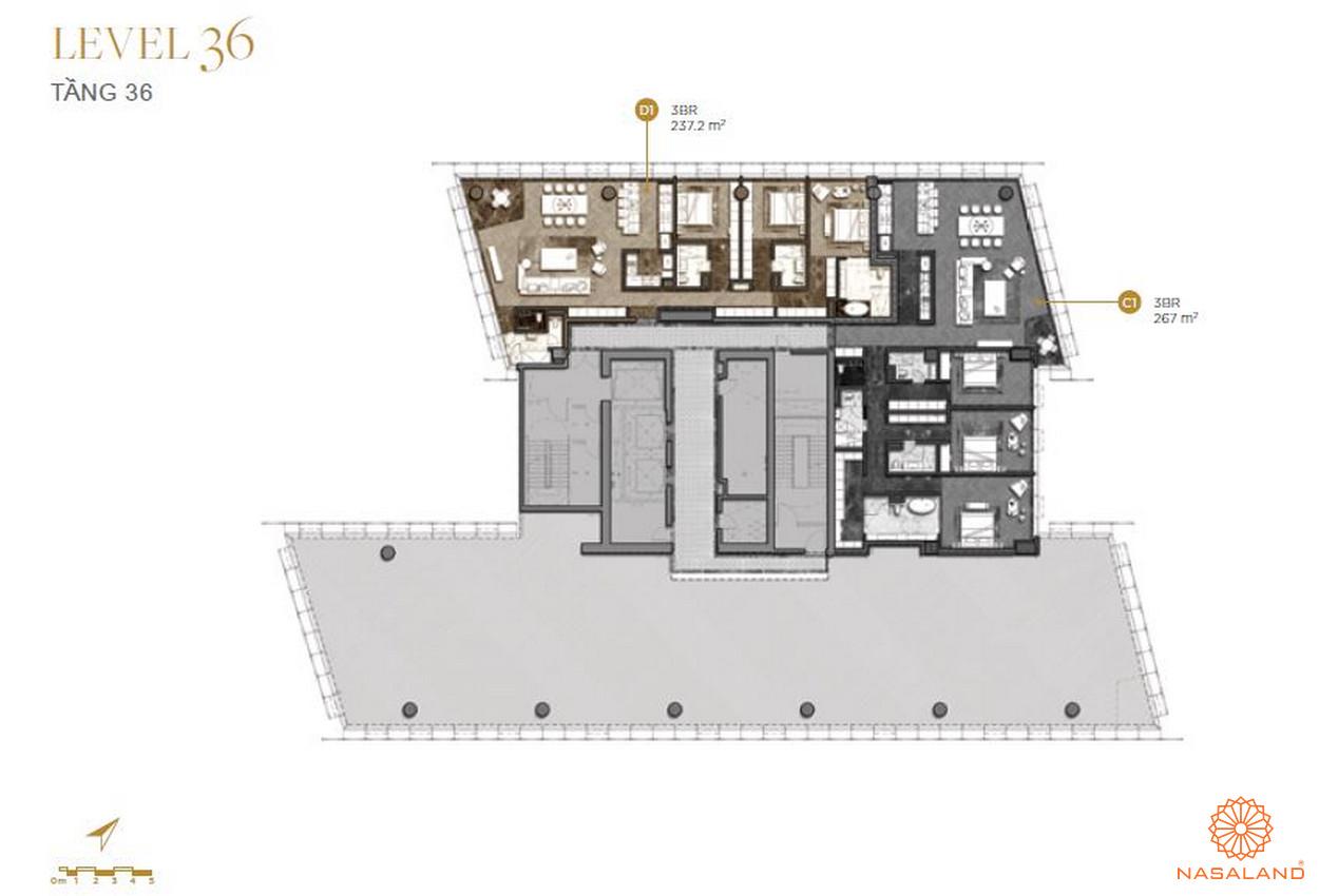 Mặt bằng căn hộ The Vertex Private Residences tầng 36