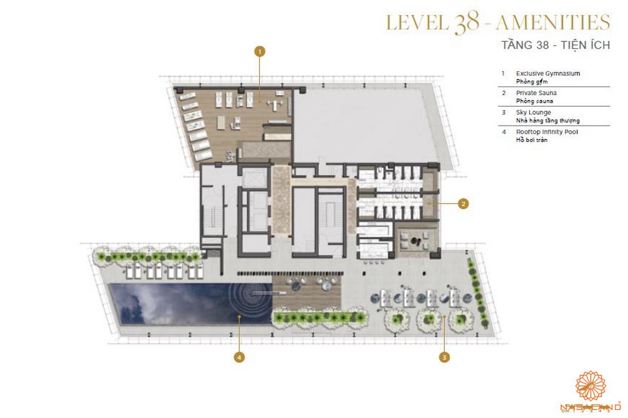 Mặt bằng căn hộ The Vertex Private Residences tầng 38