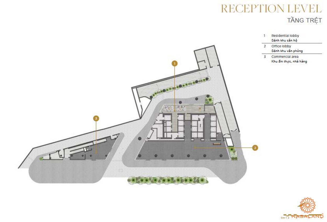 Mặt bằng căn hộ The Vertex Private Residences tầng trệt