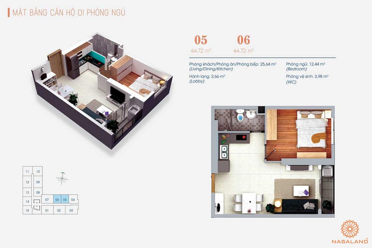 Thiết kế căn hộ 1PN tại Viva Plaza