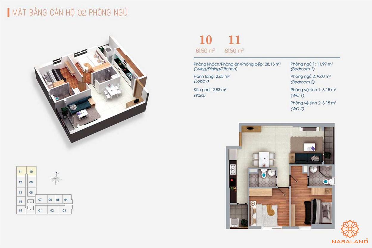Thiết kế của căn hộ Viva Plaza 2PN