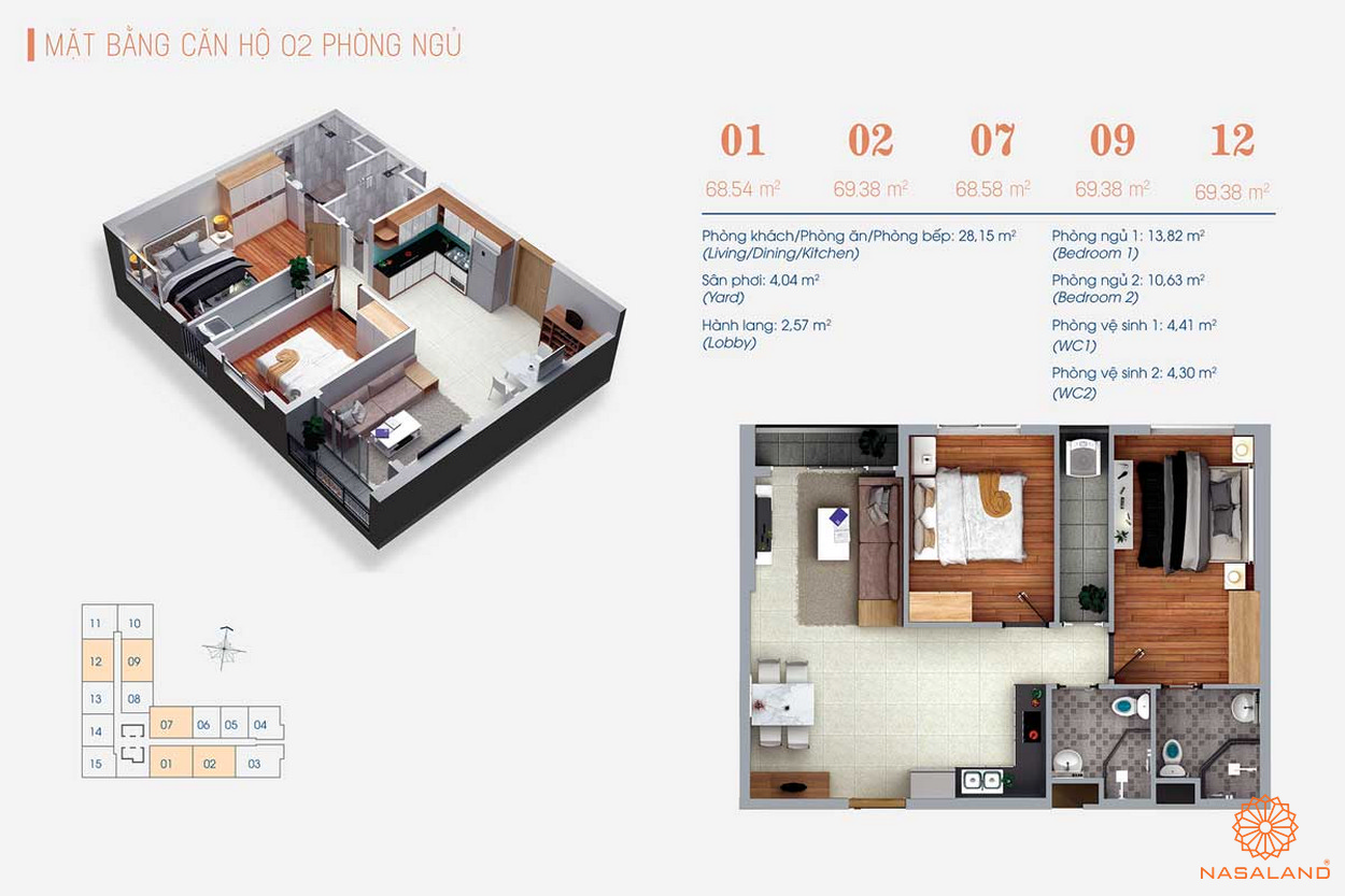 Thiết kế của căn hộ 2PN tại Viva Plaza