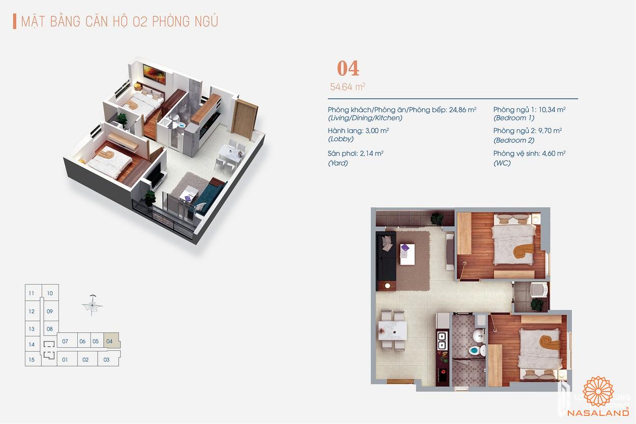 Thiết kế căn hộ dự án Viva Plaza 2PN