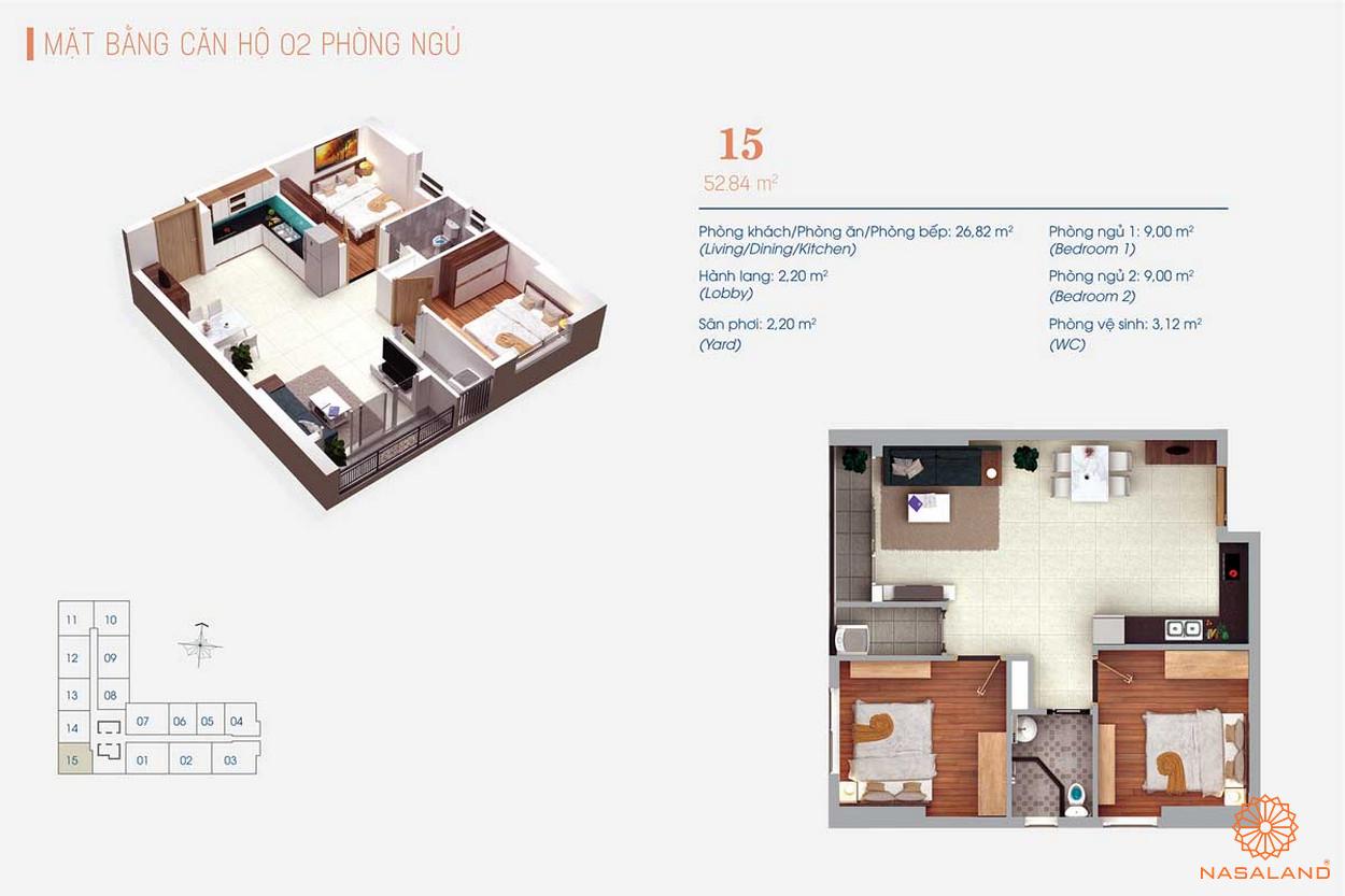 Thiết kế căn hộ Viva Plaza 2PN