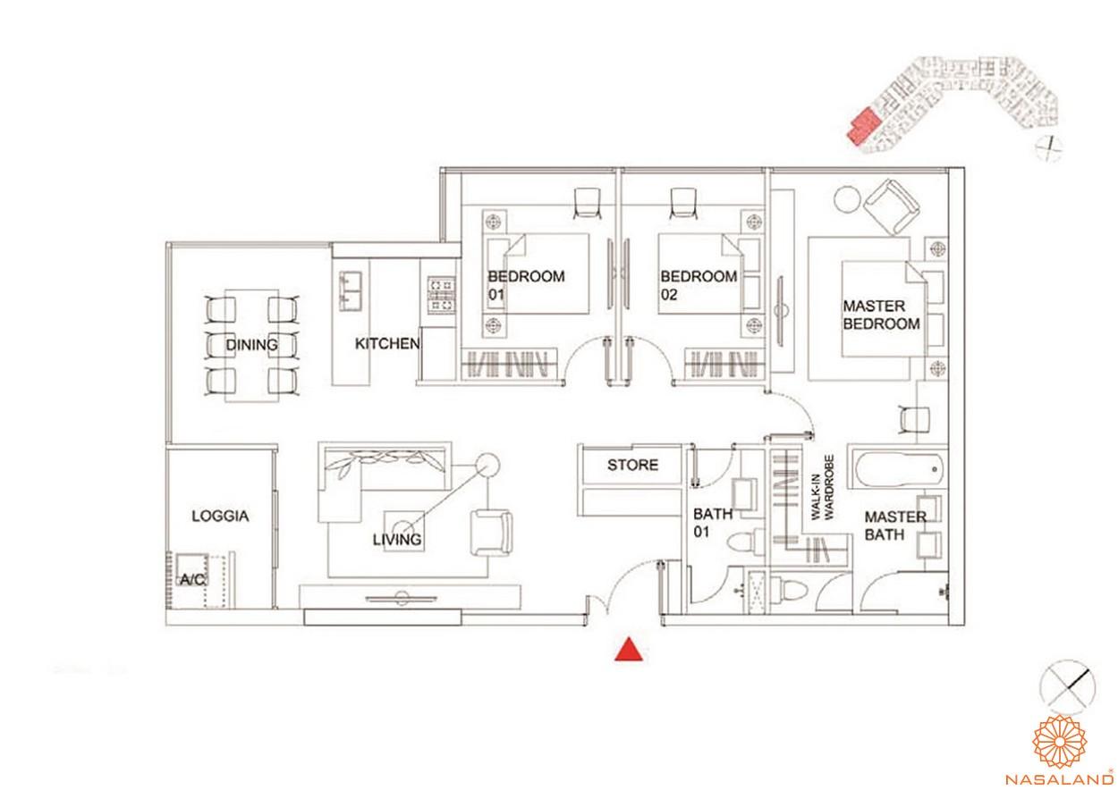 Thiết kế căn hộ 4 PN dự án Charmington Dragonic quận 5