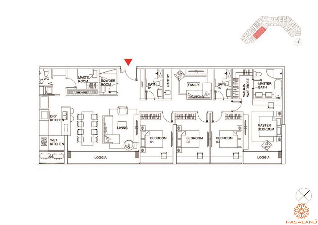 Thiết kế căn hộ 3 PN dự án Charmington Dragonic quận 5