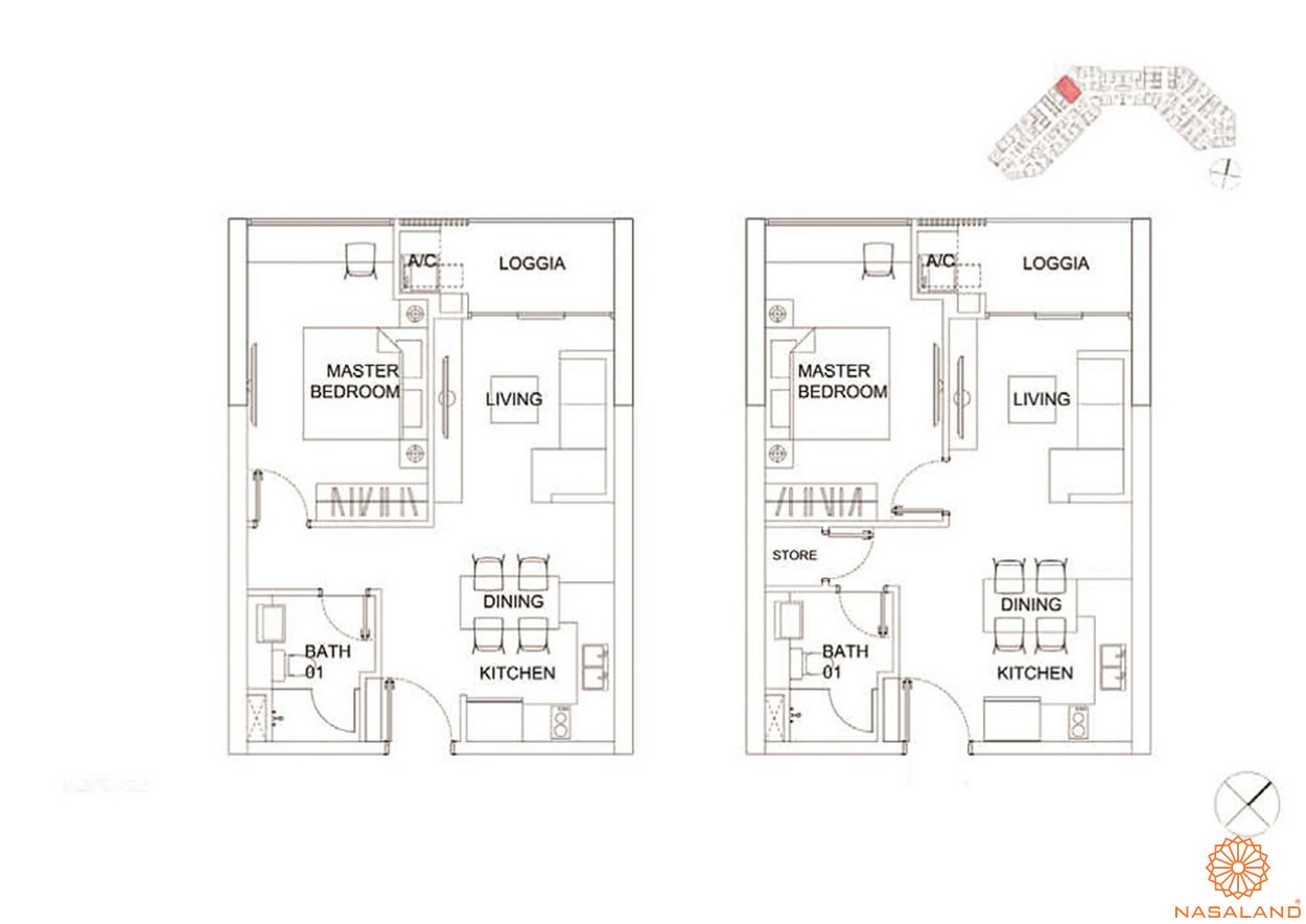Thiết kế căn hộ 2 PN dự án Charmington Dragonic quận 5