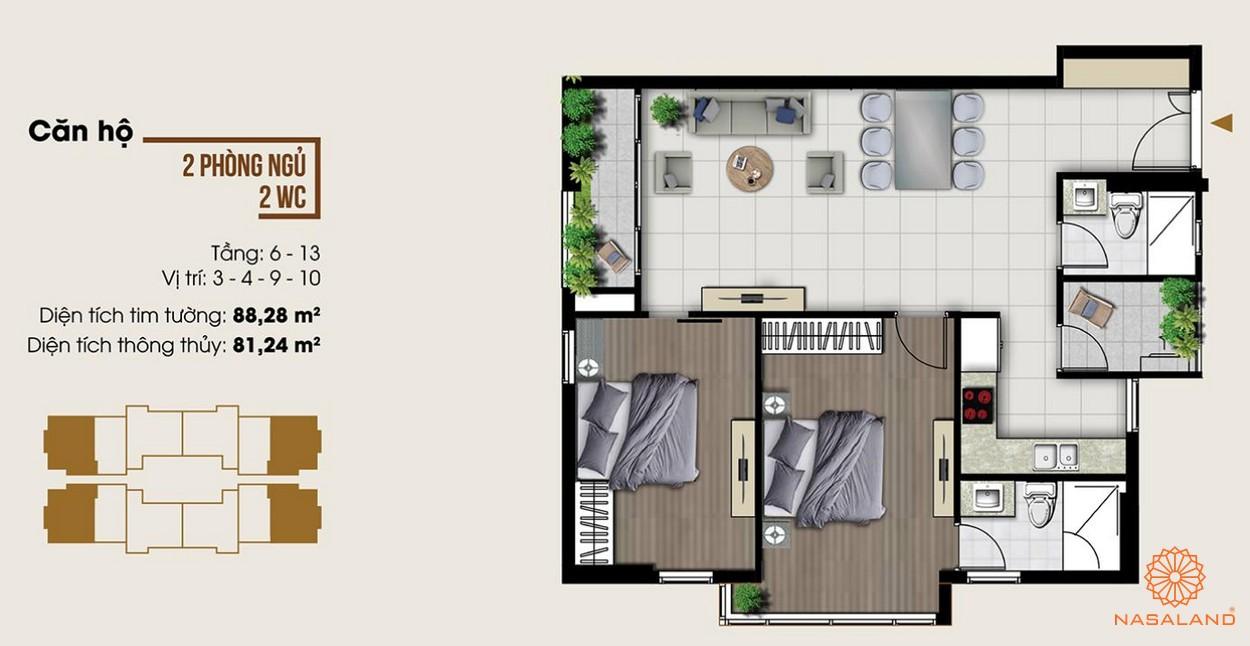 Thiết kế dự án căn hộ hai phòng ngủ tại dự án Ascent Lakeside quận 7 tiện nghi
