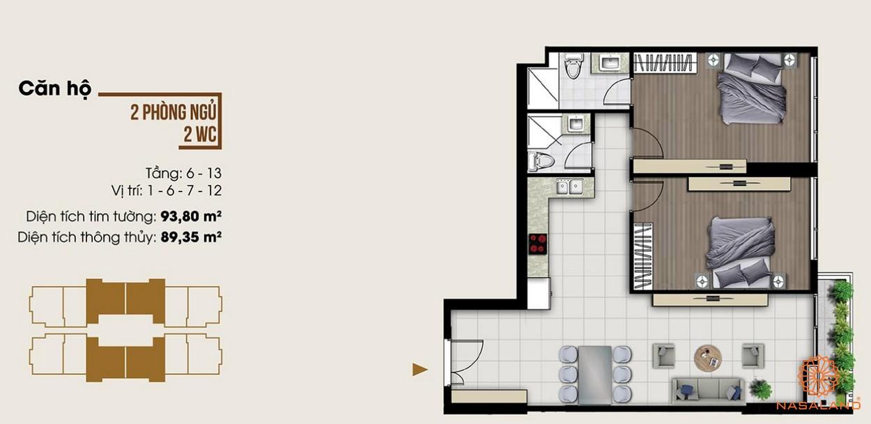 Thiết kế dự án căn hộ hai phòng ngủ tại dự án Ascent Lakeside quận 7 diện tích lớn