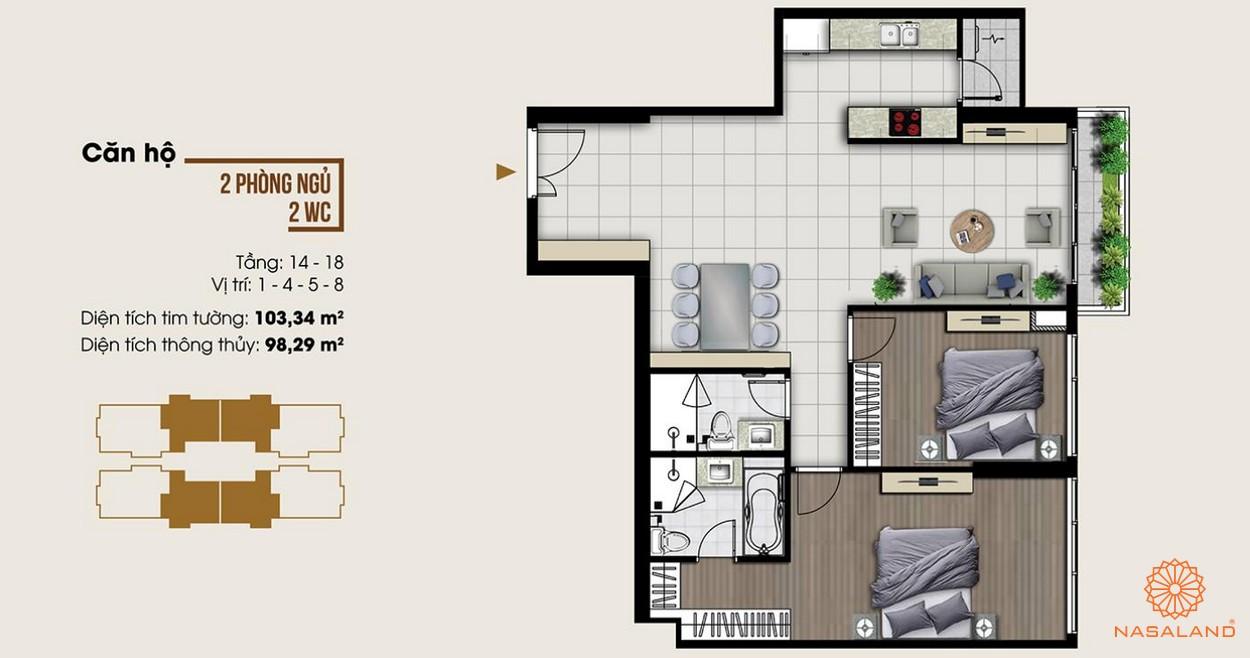 Thiết kế dự án căn hộ hai phòng ngủ tại dự án Ascent Lakeside quận 7