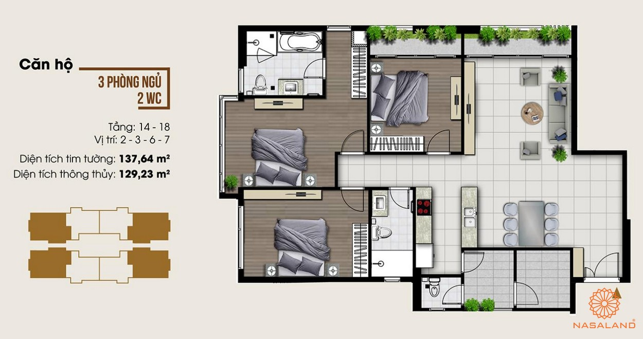 Thiết kế dự án căn hộ ba phòng ngủ tại dự án Ascent Lakeside quận 7