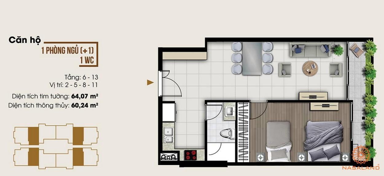 Thiết kế dự án căn hộ một phòng ngủ tại dự án