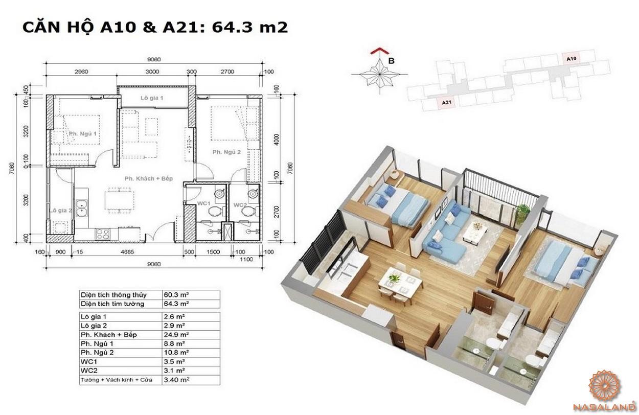 Thiết kế căn hộ 2PN dự án Eco Green Sài Gòn quận 7