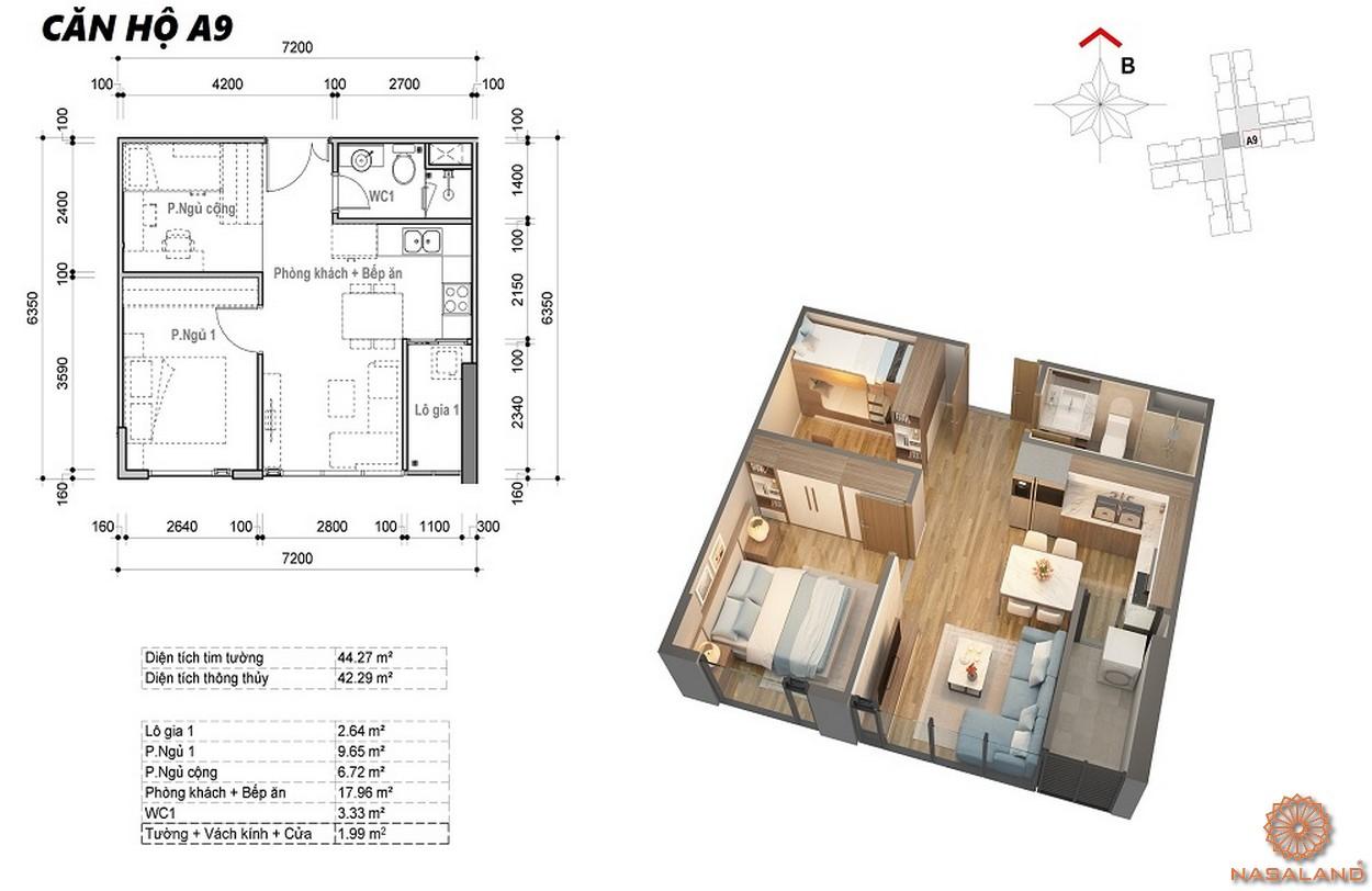 Thiết kế căn hộ 1PN dự án Eco Green Sài Gòn quận 7