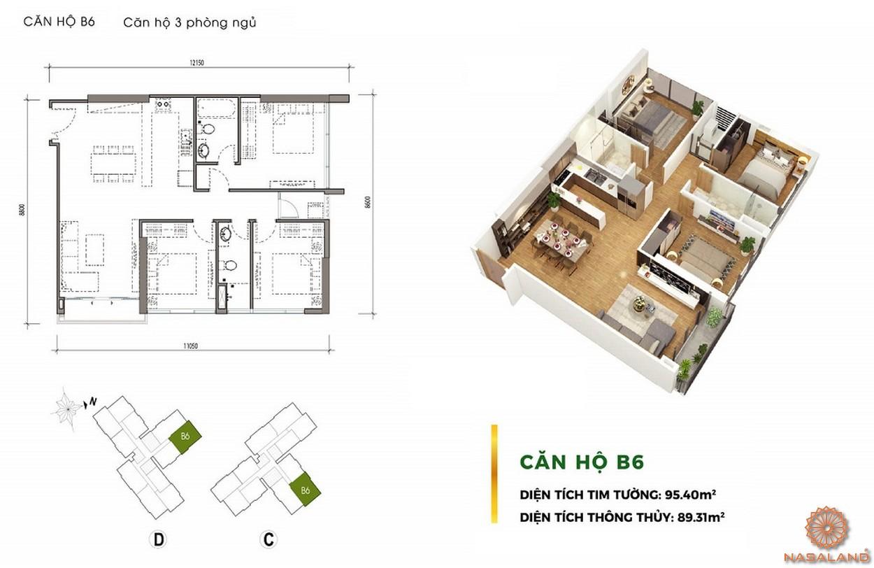 Thiết kế căn hộ 3PN dự án chung cư Eco Green Sài Gòn quận 7