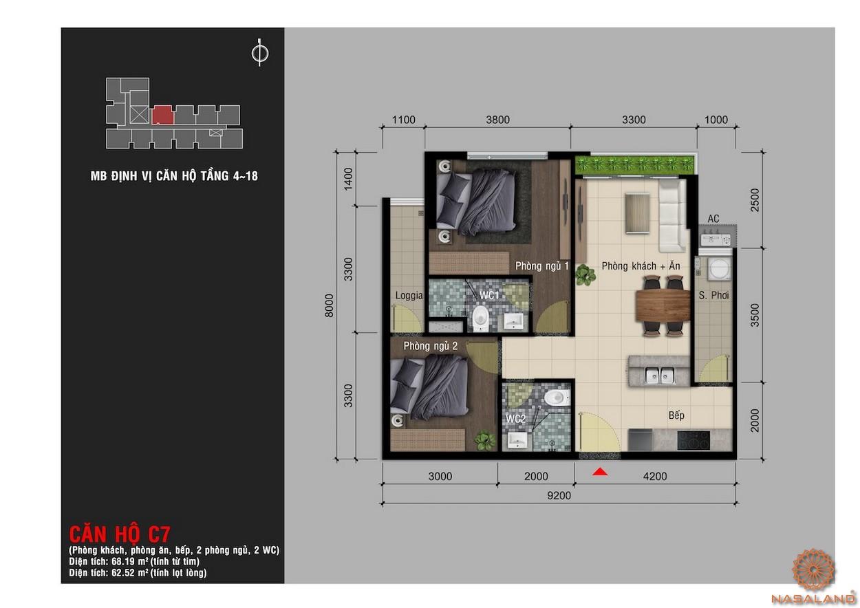 Thiết kế căn hộ C7 chung cư Happy One Premier Thạnh Lộc
