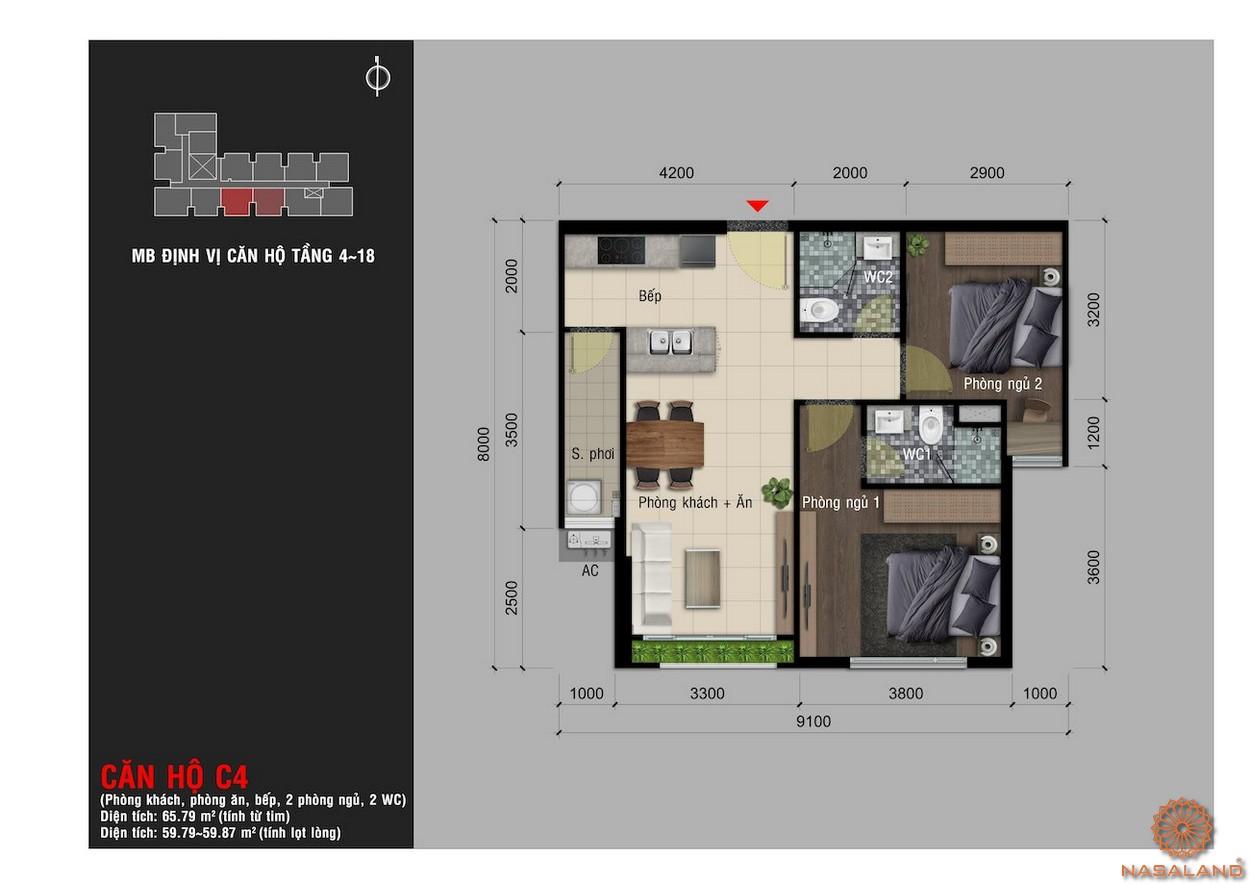 Thiết kế căn hộ C4 chung cư Happy One Premier Thạnh Lộc
