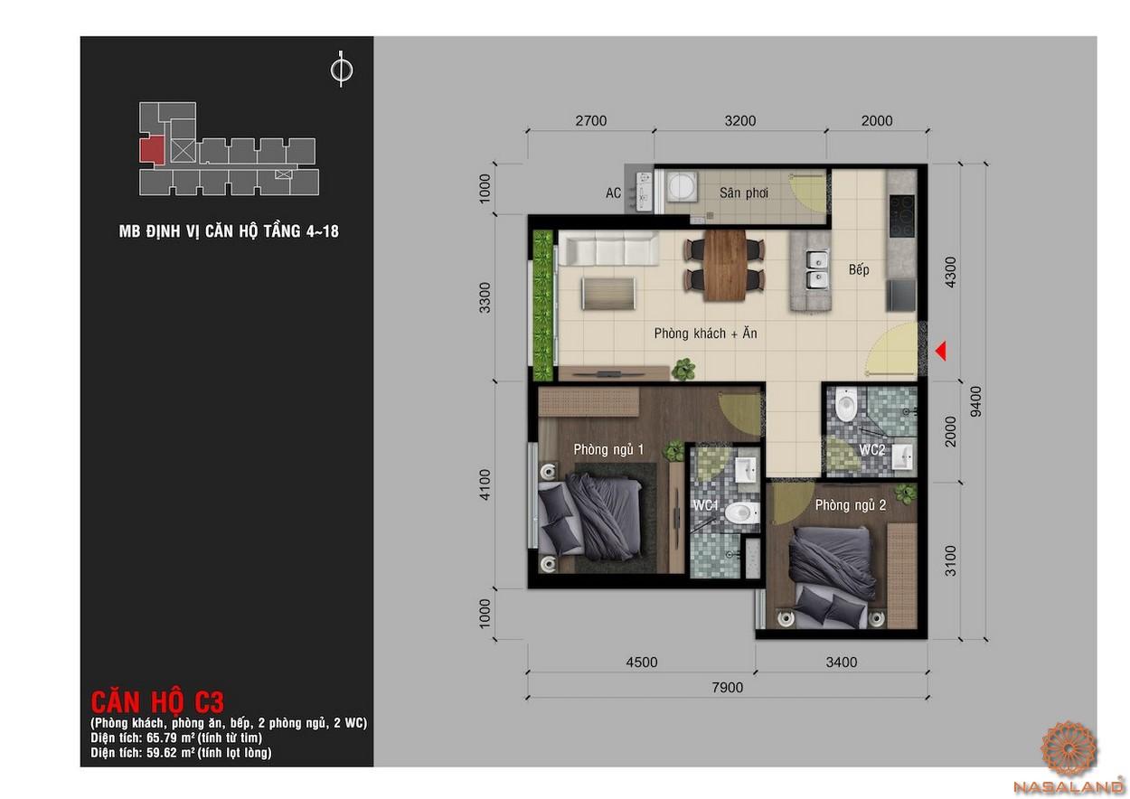 Thiết kế căn hộ C3 chung cư Happy One Premier Thạnh Lộc