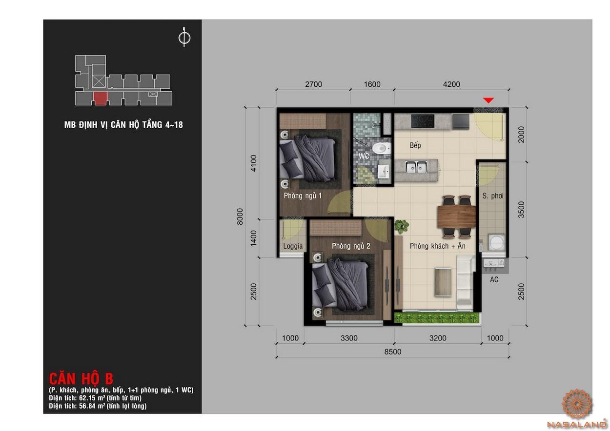 Thiết kế căn hộ B chung cư Happy One Premier Thạnh Lộc