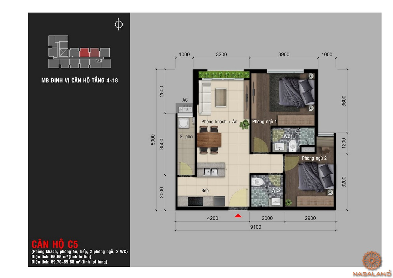 Thiết kế căn hộ C5 chung cư Happy One Premier Thạnh Lộc