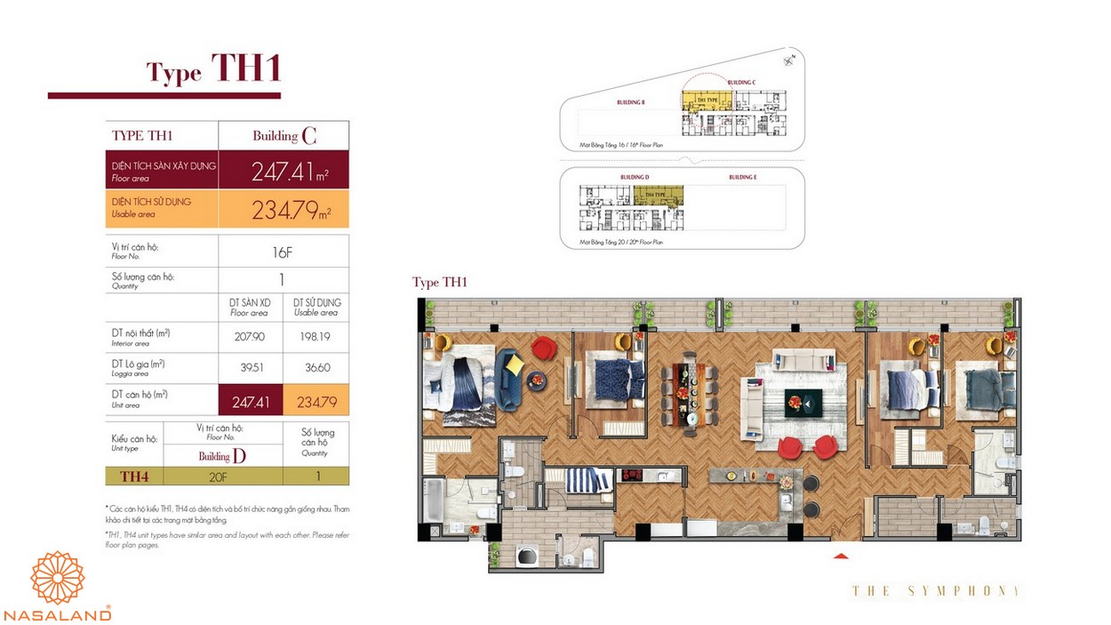 Thiết kế căn hộ TH1 thuộc dự án The Symphony Phú Mỹ Hưng quận 7