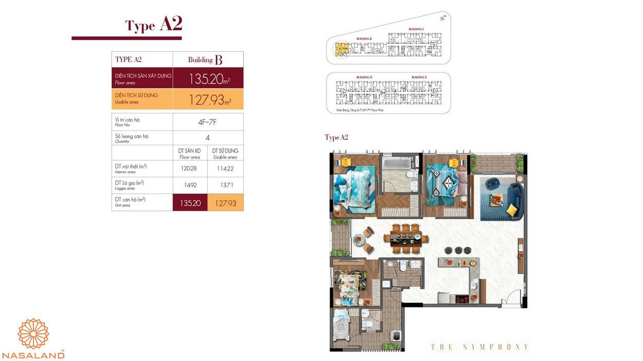 Thiết kế căn hộ A2 thuộc dự án The Symphony Phú Mỹ Hưng quận 7