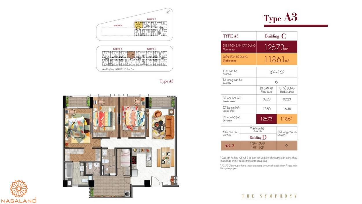 Thiết kế căn hộ A3 thuộc dự án The Symphony Phú Mỹ Hưng quận 7