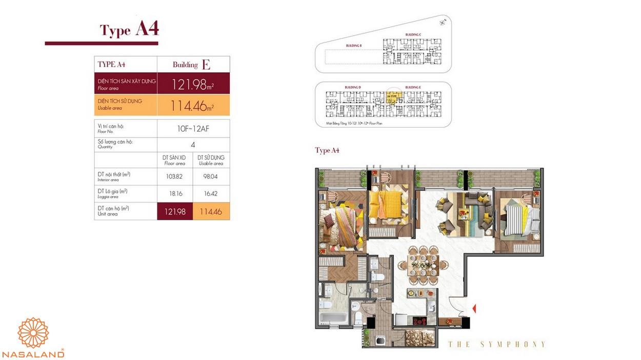 Thiết kế căn hộ A4 thuộc dự án The Symphony Phú Mỹ Hưng quận 7