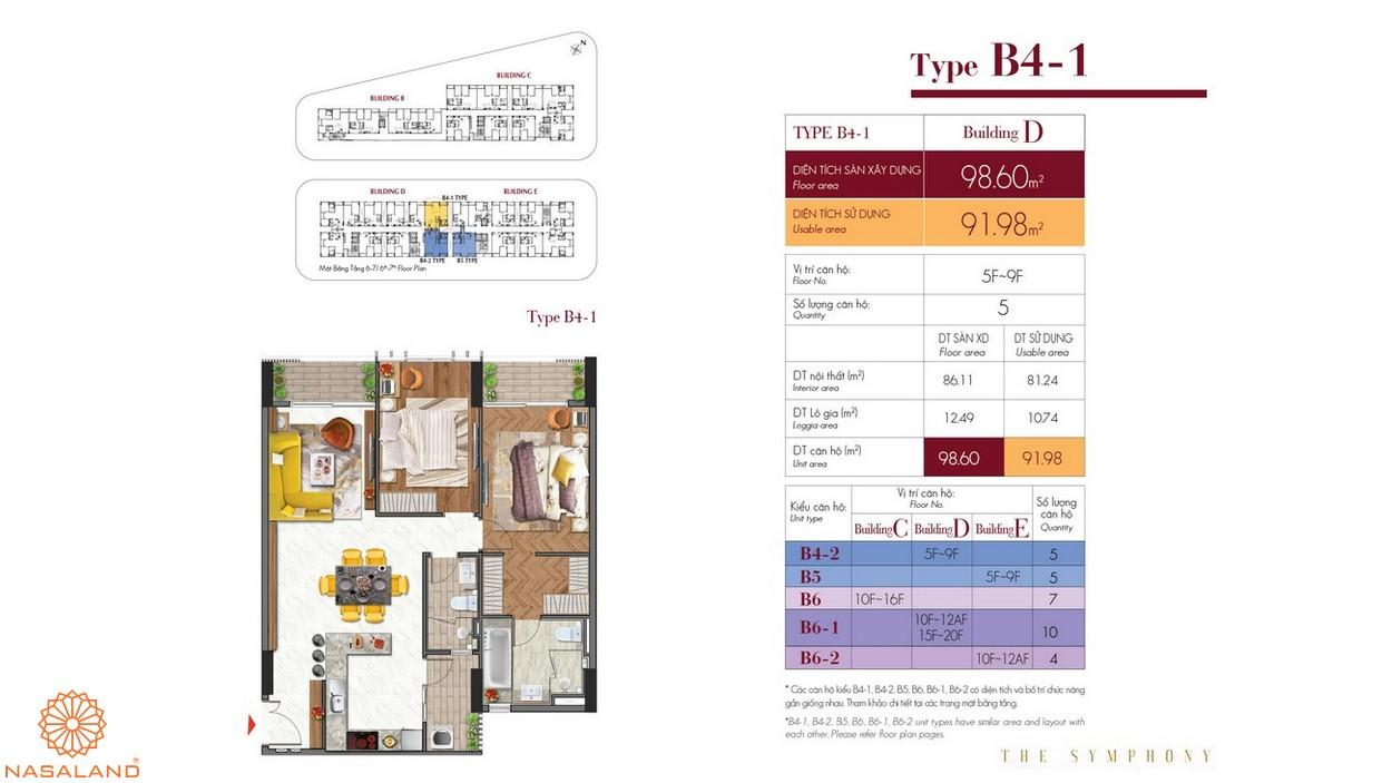 Thiết kế căn hộ B4-1 thuộc dự án The Symphony Phú Mỹ Hưng quận 7