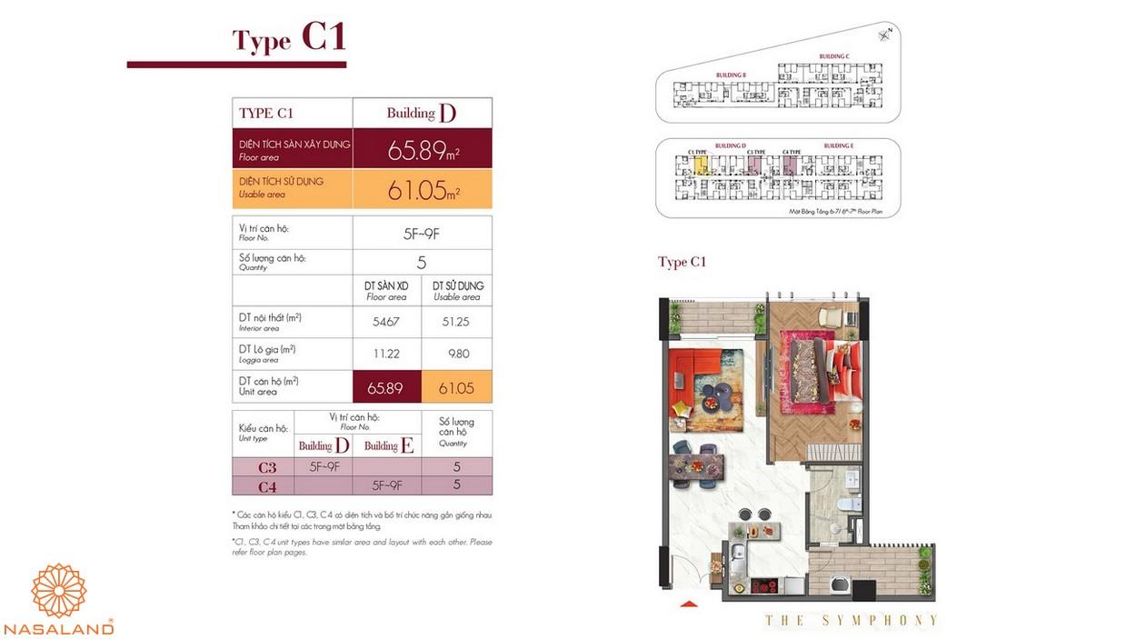 Thiết kế căn hộ C1 thuộc dự án The Symphony Phú Mỹ Hưng quận 7
