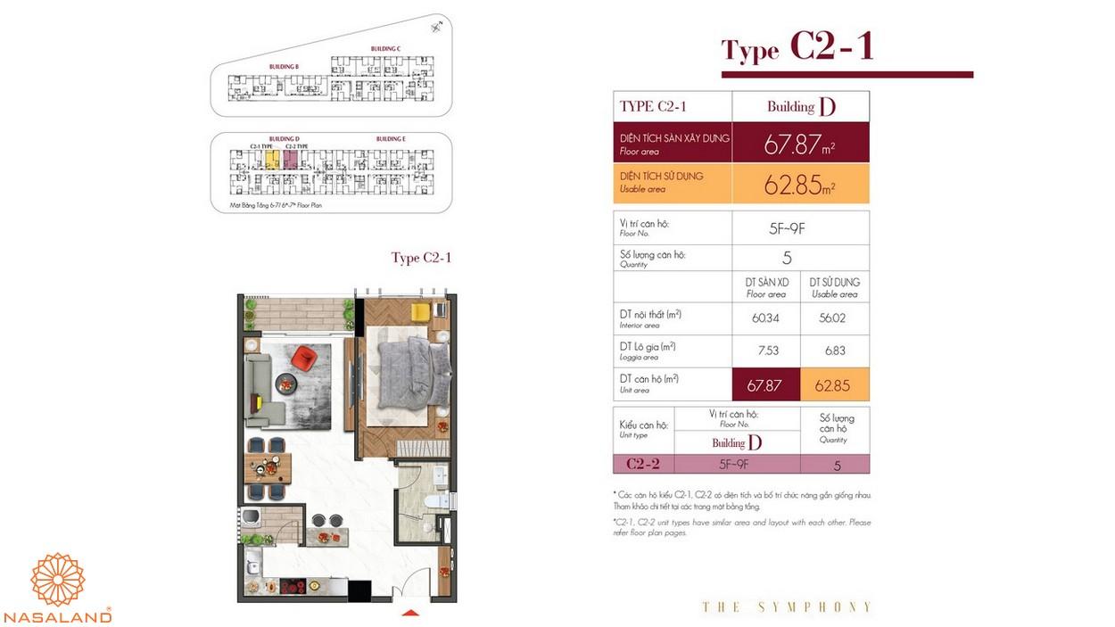 Thiết kế căn hộ C2-1 thuộc dự án The Symphony Phú Mỹ Hưng quận 7