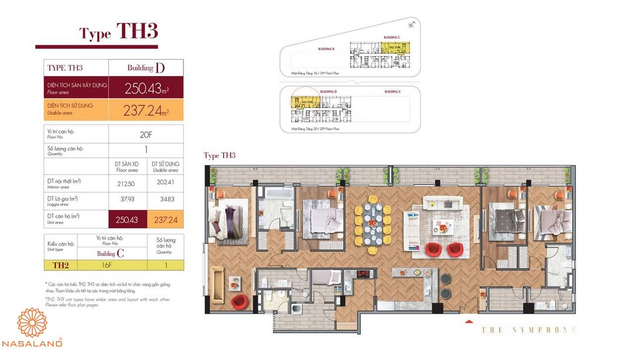 Thiết kế căn hộ TH3 thuộc dự án The Symphony quận 7