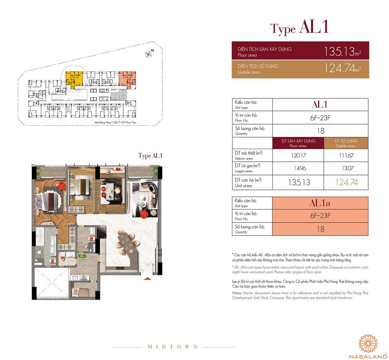 Thiết kế căn hộ Type AL1 dự án The Grande Midtown quận 7