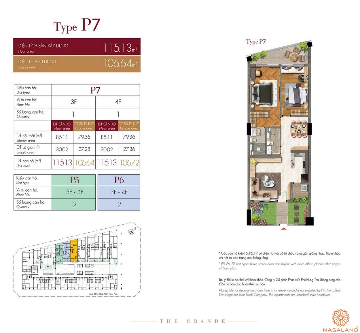 Thiết kế căn hộ Type P7 dự án The Grande Midtown quận 7