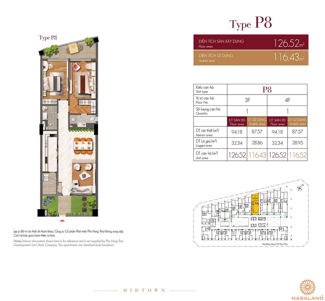 Thiết kế căn hộ Type P8 dự án The Grande Midtown quận 7