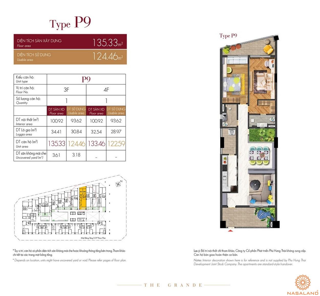 Thiết kế căn hộ Type P9 dự án The Grande Midtown quận 7