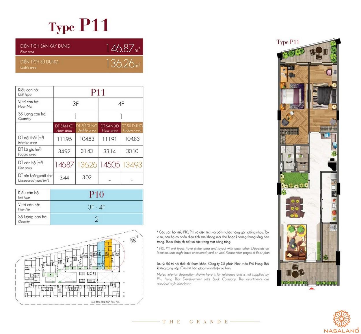 Thiết kế căn hộ Type P11 dự án The Grande Midtown quận 7