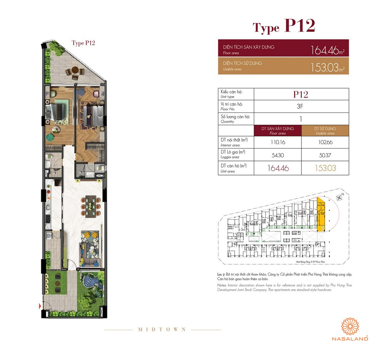 Thiết kế căn hộ Type P12 dự án The Grande Midtown quận 7
