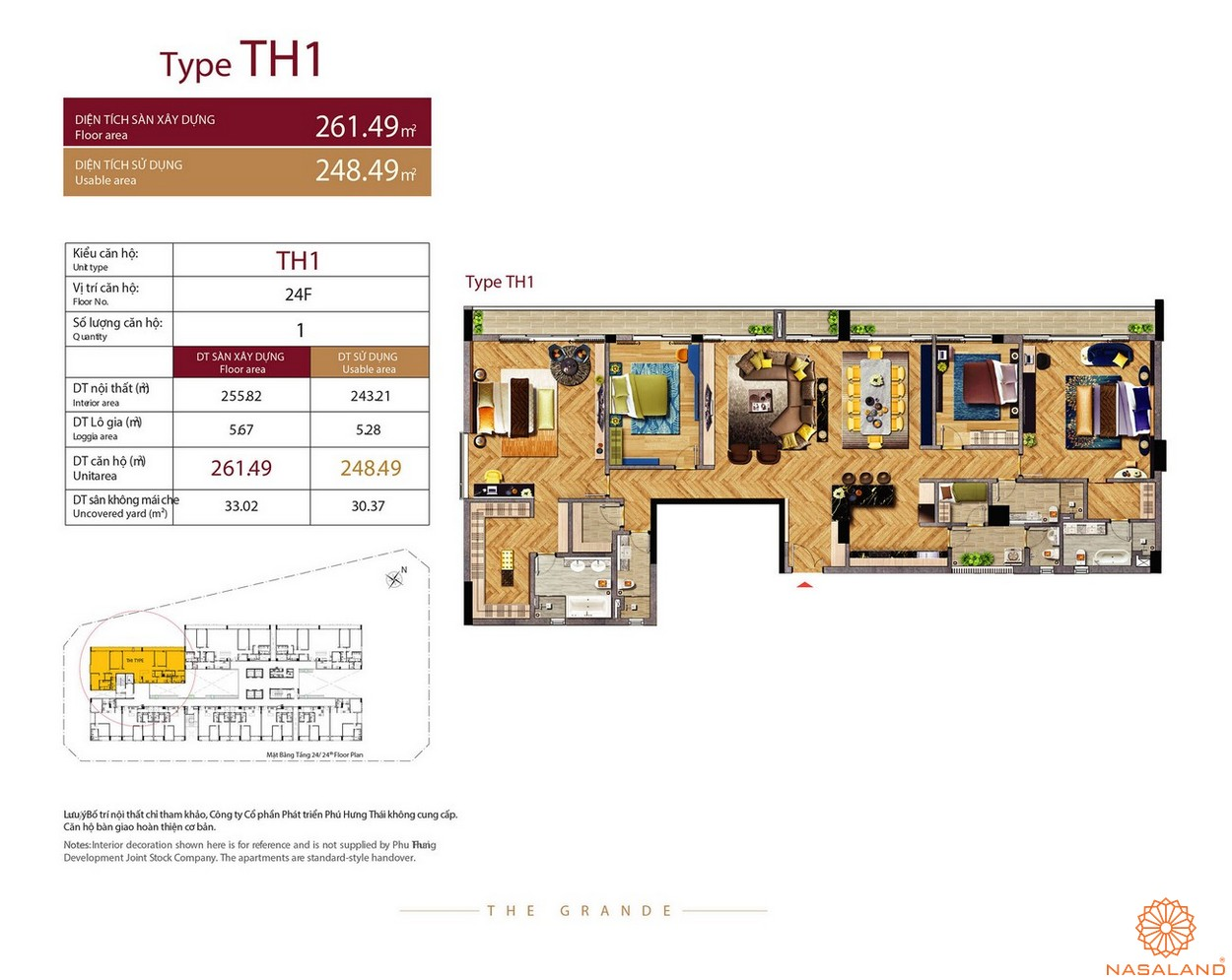 Thiết kế căn hộ Type TH1 dự án The Grande Midtown quận 7