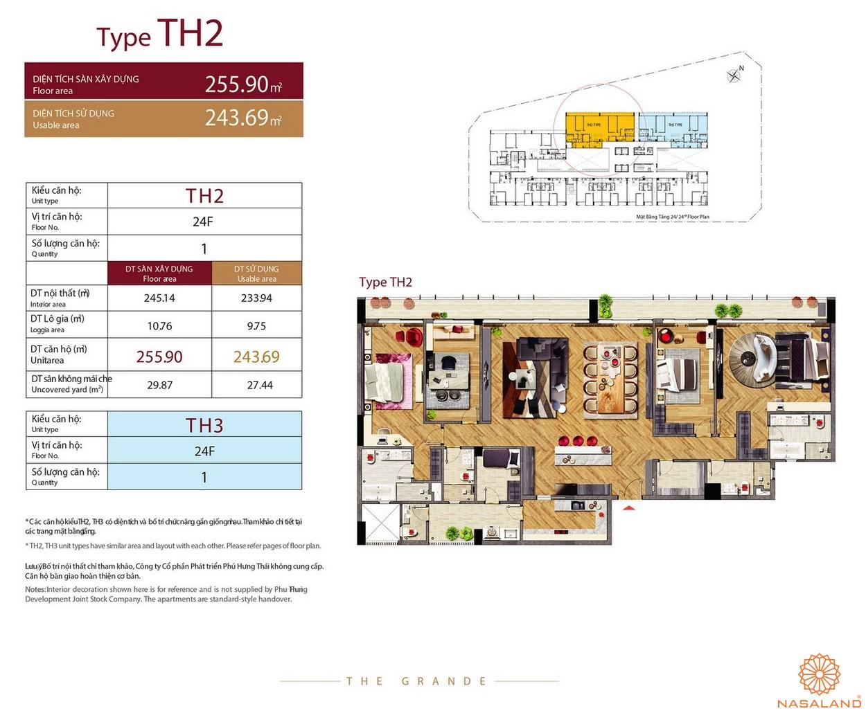 Thiết kế căn hộ Type TH2 dự án The Grande Midtown quận 7