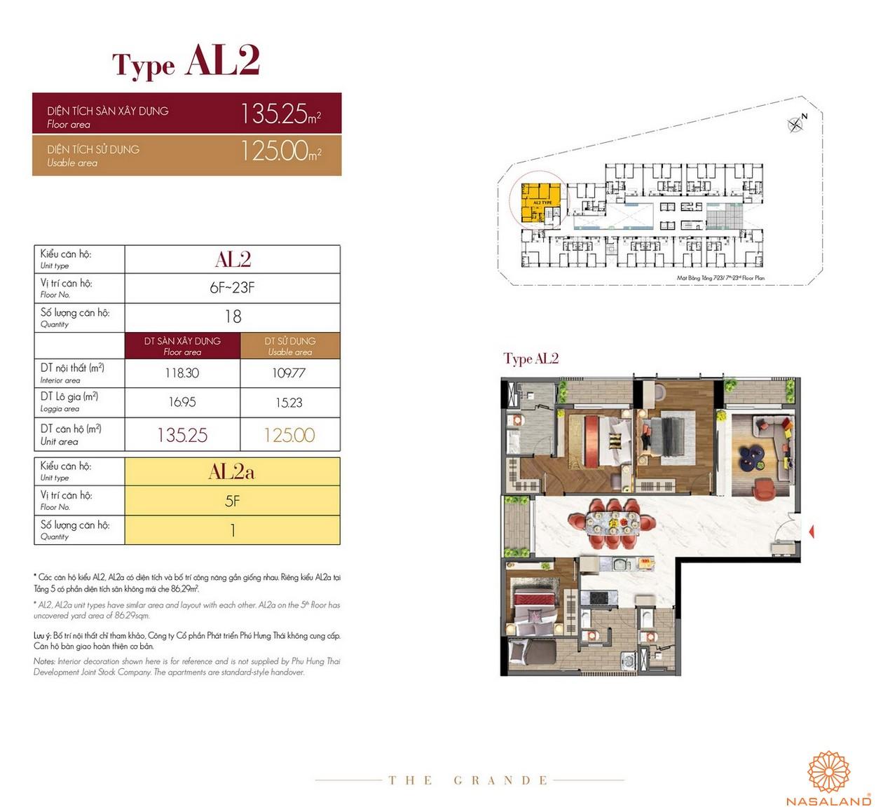 Thiết kế căn hộ Type AL2 dự án The Grande Midtown quận 7
