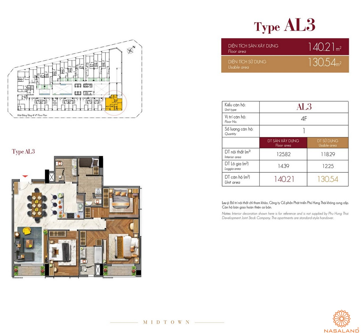 Thiết kế căn hộ Type AL3 dự án The Grande Midtown quận 7