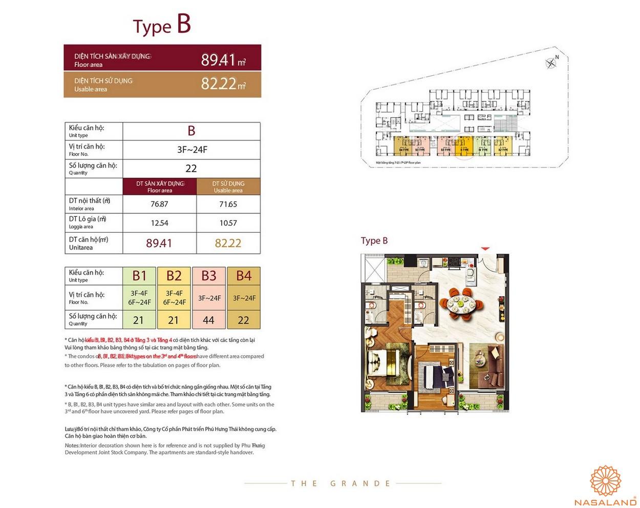 Thiết kế căn hộ Type B dự án The Grande Midtown quận 7