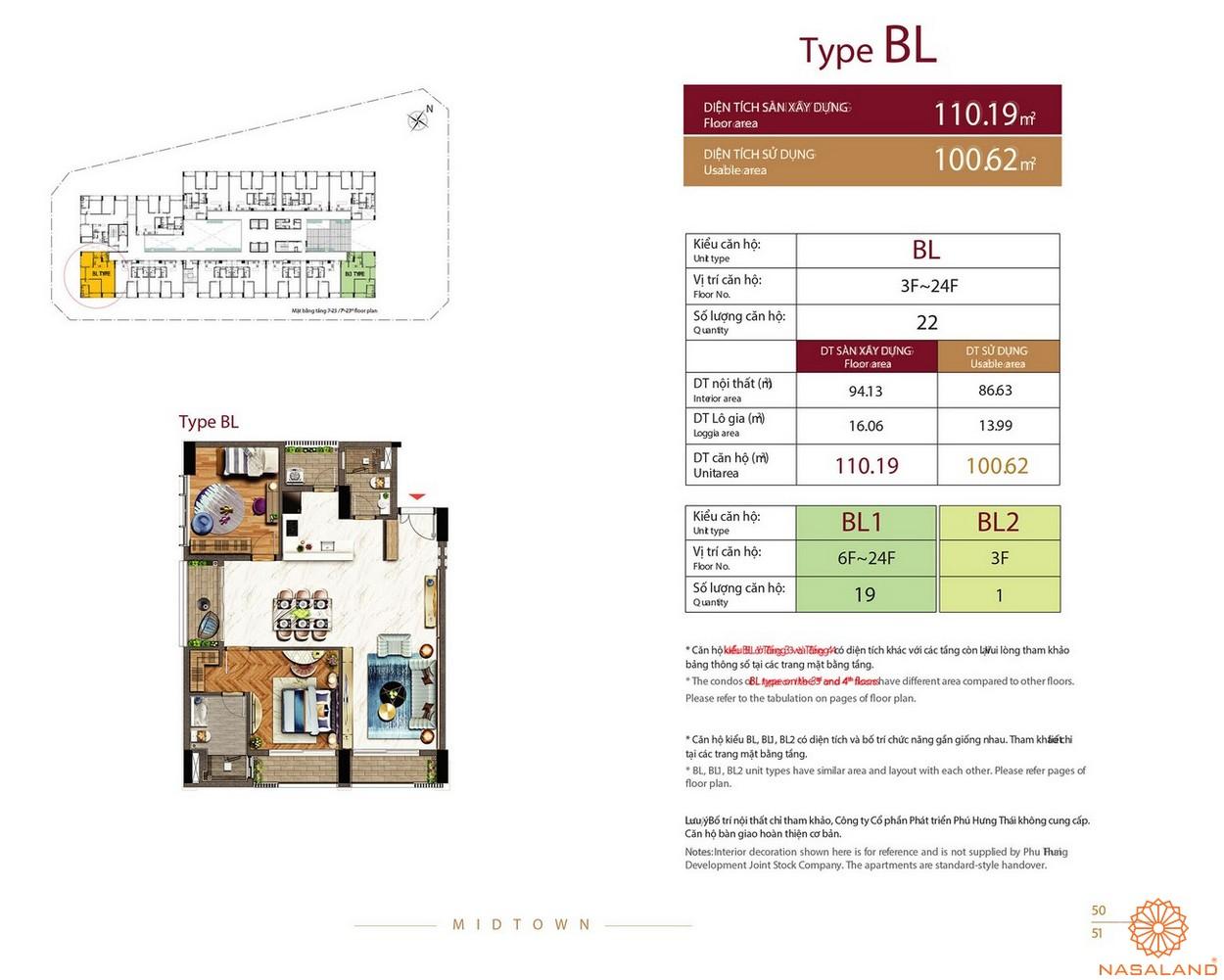 Thiết kế căn hộ Type BL dự án The Grande Midtown quận 7