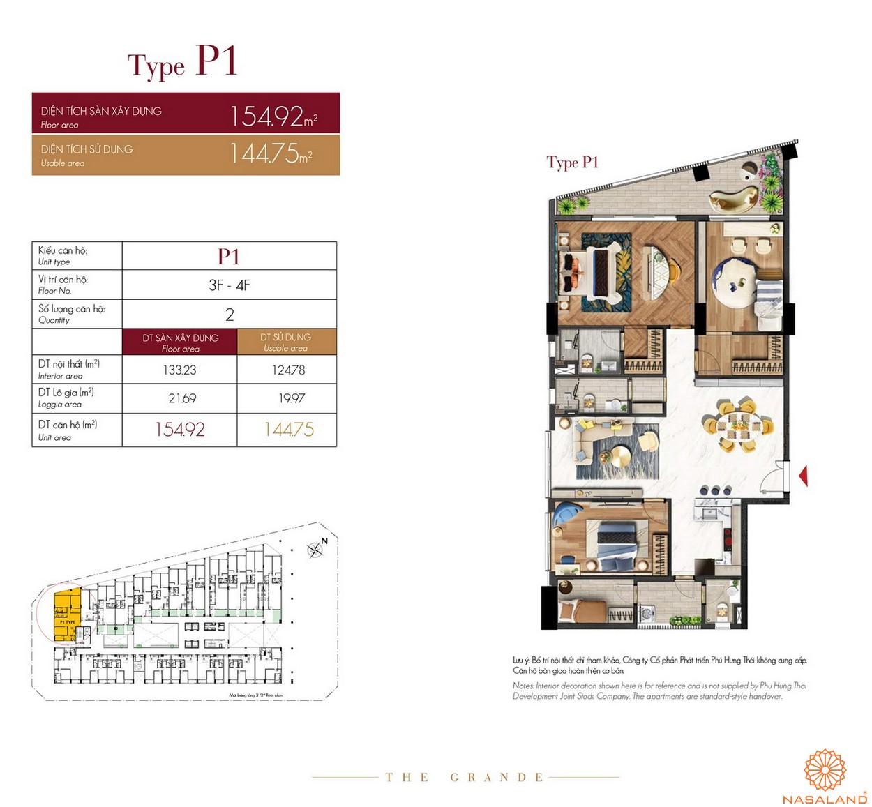 Thiết kế căn hộ Type P1 dự án The Grande Midtown quận 7