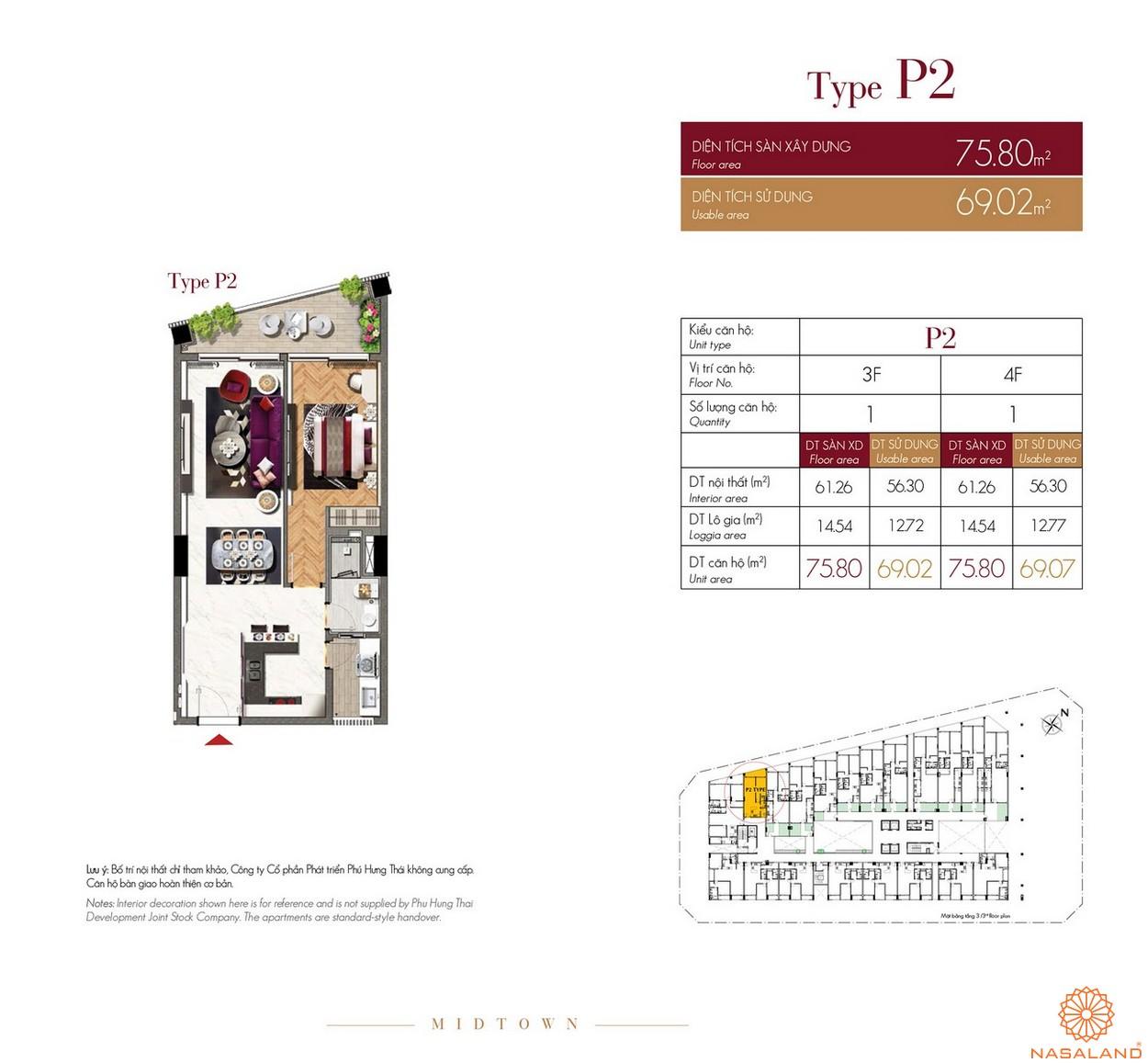 Thiết kế căn hộ Type P2 dự án The Grande Midtown quận 7
