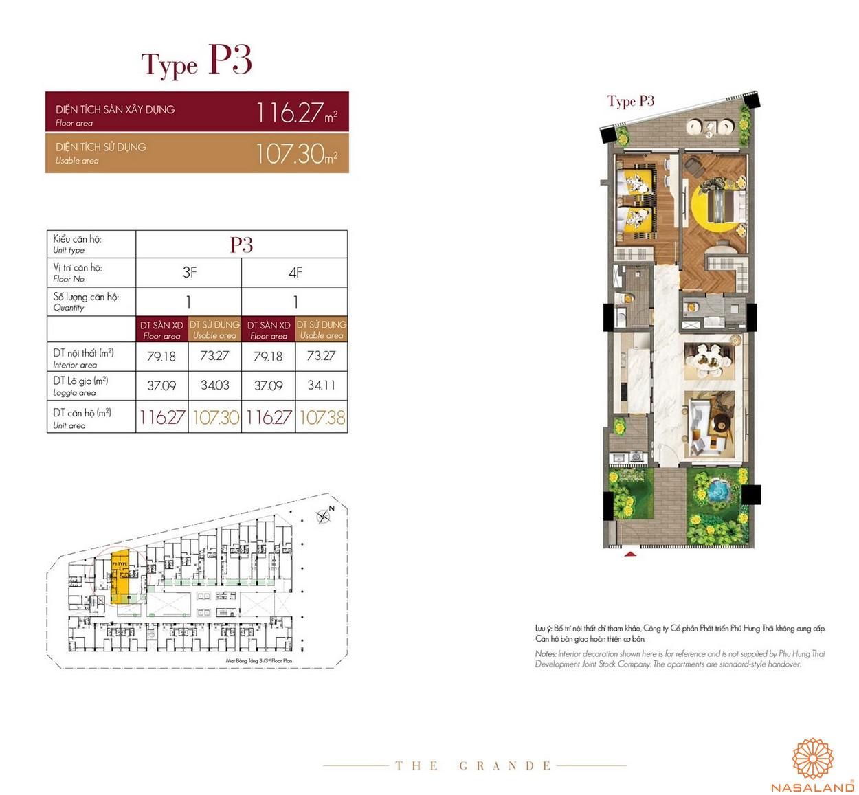 Thiết kế căn hộ Type P3 dự án The Grande Midtown quận 7