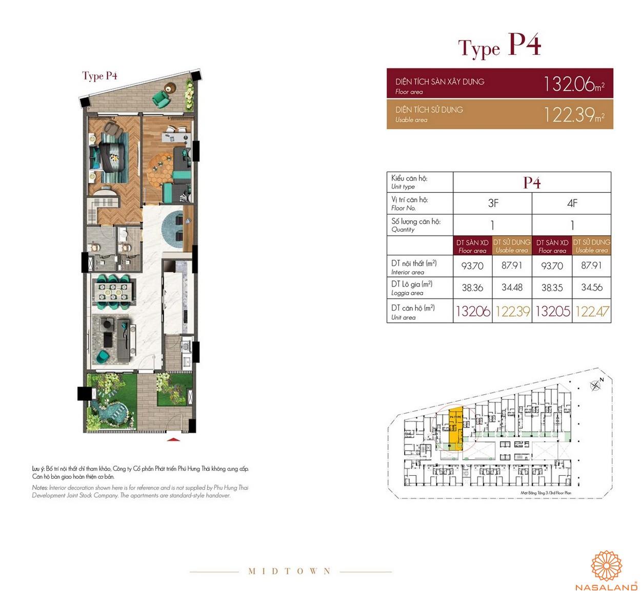 Thiết kế căn hộ Type P4 dự án The Grande Midtown quận 7