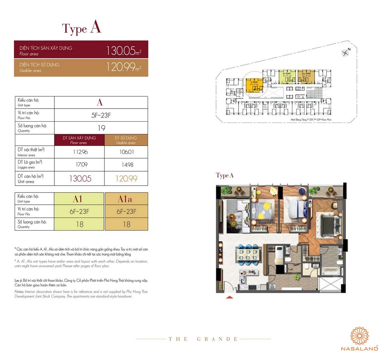Thiết kế căn hộ Type A dự án The Grande Midtown quận 7