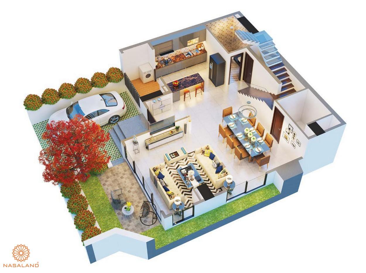 Thiết kế tầng trệt tại biệt thự ven vườn dự án The Ascentia quận 7